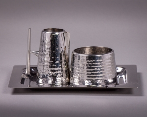 Stainless Steel Hammered Cream and Sugar with Tray