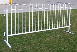 White Metal Picket Fence 42x8