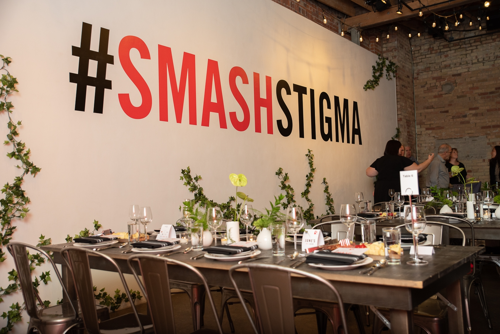 Smash Stigma Event - Industrial Chair and Black-wash Harvest Table